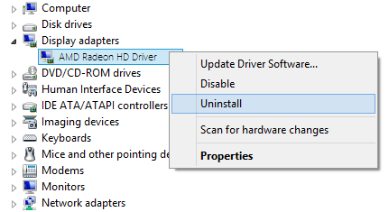 Graphic Driver Uninstall from Device Manager