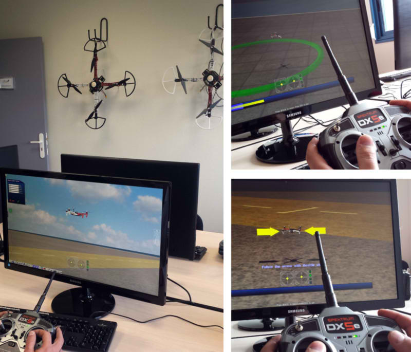 CFAD has a dedicated room equipped with five AeroSIM-RC simulators.The students familiarise with the controller and the aircraft and identifies each action (lift, tilt, roll, pan).Then performs a series of pre-determined exercises under instructor supervision.